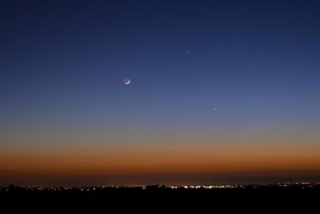 Simulation - conjunction Moon, Venus, Jupiter