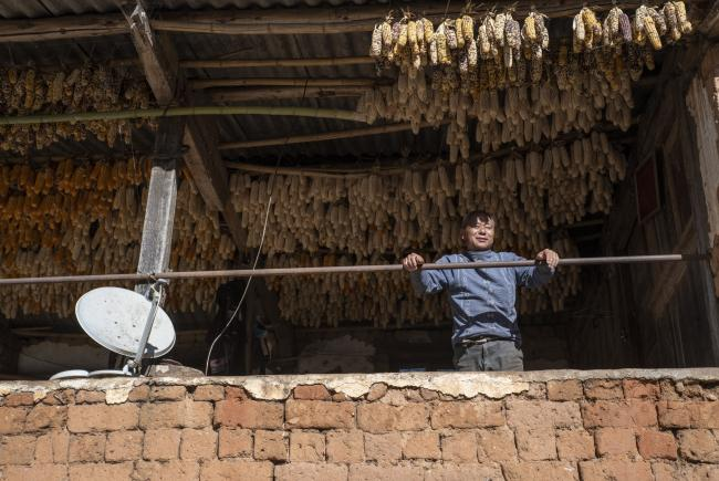 Mr. Chen and his maize supply, which will be used to produce baijiu