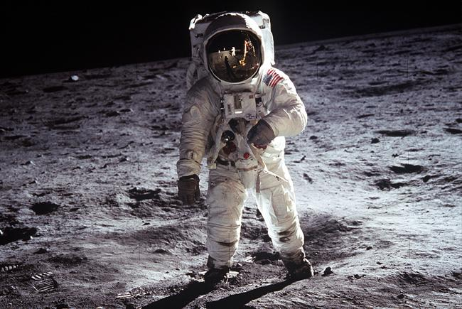 Buzz Aldrin on the surface of the Moon.