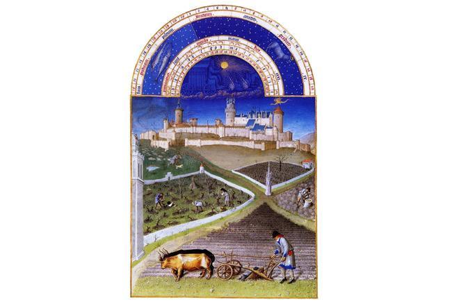 Illustration du mois de mars tirée du livre « Très riches heures » du Duc de Berry (1413-1416)