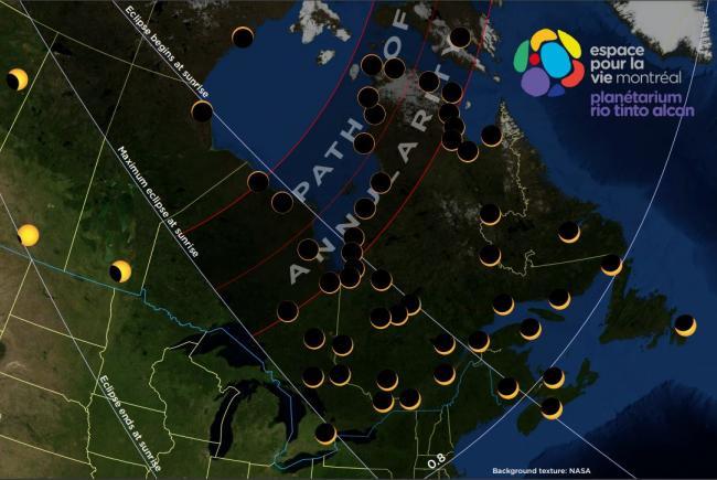 Carte de l'éclipse du 10 juin 2021.