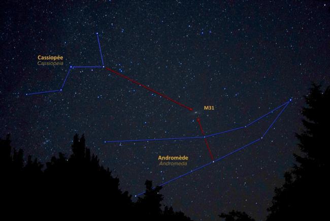 Repérez la galaxie d'Andromède (M31) en utilisant les étoiles de Cassiopée et Andromède.