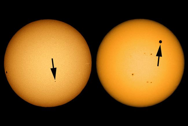 The transit of Mercury compared to the transit of Venus.