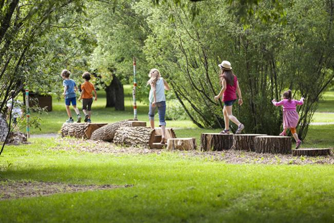 Children having fun outside.