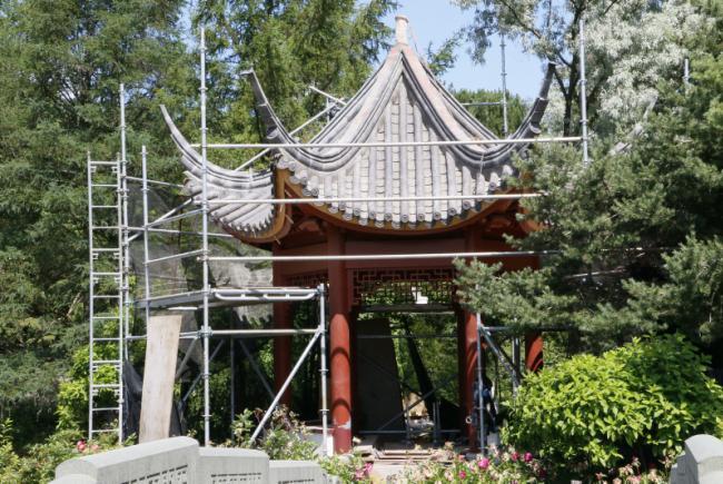 Réfection du Jardin de Chine - Été 2017 - Restauration du kiosque de la douceur infinie