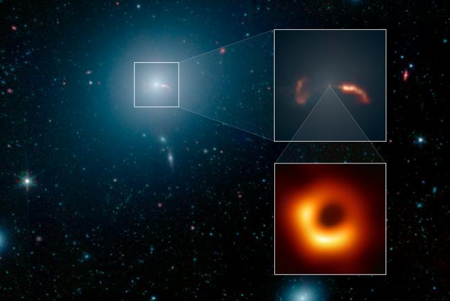 La galaxie géante M87, dans l'amas de la Vierge. En bas à droite, le trou noir au centre de M87.