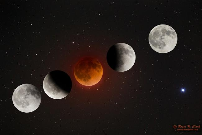 A photo sequence of the April 15, 2014 total lunar eclipse.