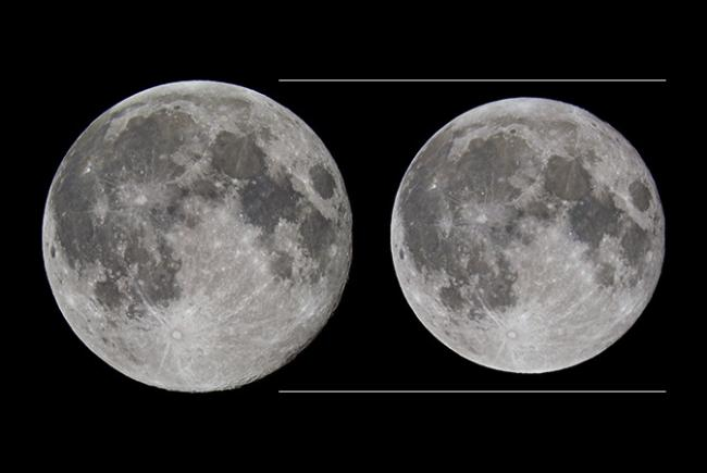 The size difference between a perigeean full moon and a full moon at apogee