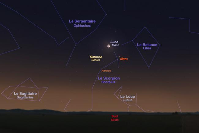 Mars among the stars of Scorpius, on the evening of May 22, with the full moon and Saturn nearby.