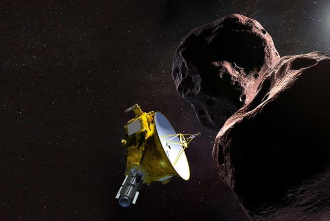 Illustration of NASA's New Horizons spacecraft encountering Ultima Thule