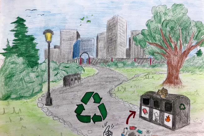 Winning entry in the Zero waste category of the drawing contest: Conserving my neighbourhood woodlot.