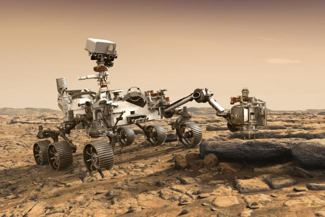 Artist's view of the rover operating on Martian soil.
