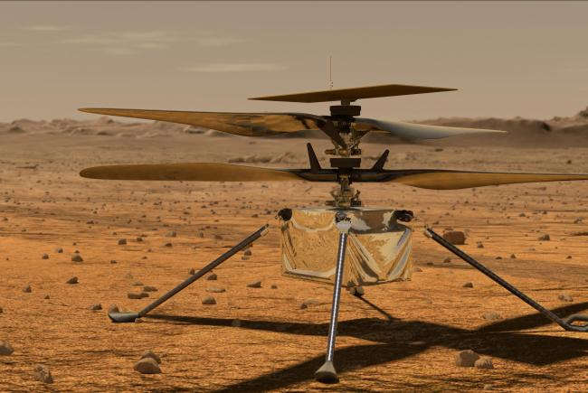Artist's view of the experimental helicopter Ingenuity on Mars.