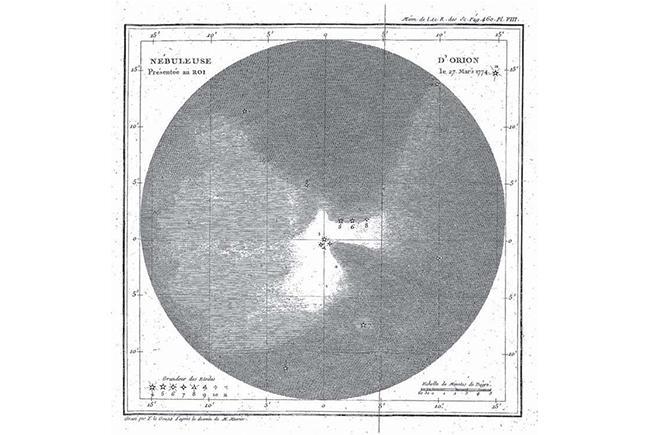 La nébuleuse d'Orion dessinée par Messier et désignée par M42 dans son catalogue.