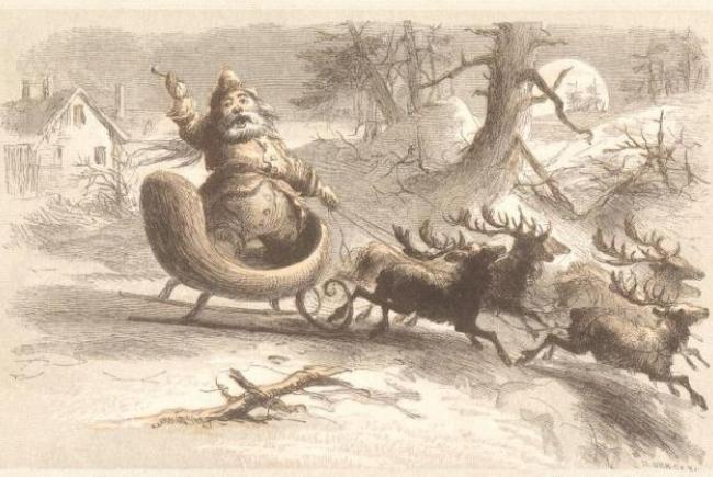 Le Père Noël filant dans la nuit