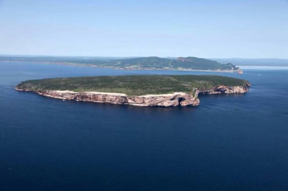 Photographie aérienne de l'île Bonaventure