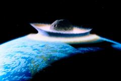 La collision d'un planétoïde avec la Terre.