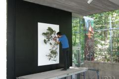 Installation sculpturale de Simon M. Benedict au Jardin des Premières-Nations.