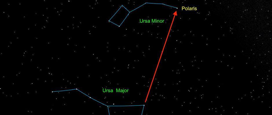 Repérage de l'étoile Polaire à partir de la casserole de la Grande Ourse