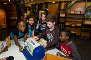 Five students at work in the Naturalia Discovery Room.