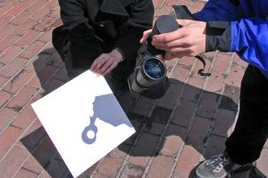 Projection with binoculars