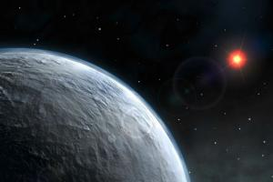 Vue d'artiste d'une exoplanète.