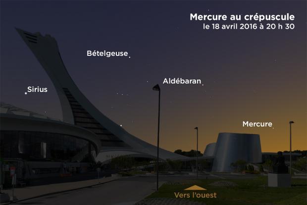 Mercure au crépuscule, le 18 avril 2016 à 20 h 30