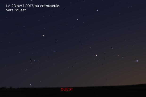 Mars près des Hyades et des Pléiades, le 28 avril 2017