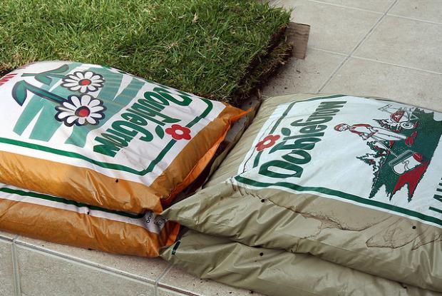 Bags of fertilizer