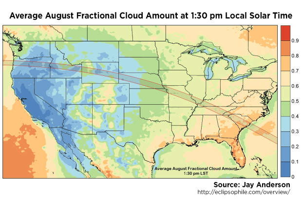 Average August fractional cloud amount at 0130 pm