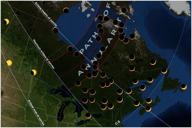 20210610 eclipse map Quebec and Eastern Canada