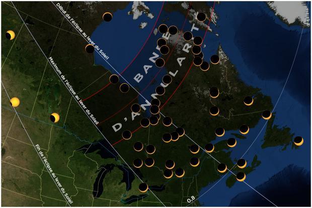 Carte éclipse 20210610 Québec et est du Canada