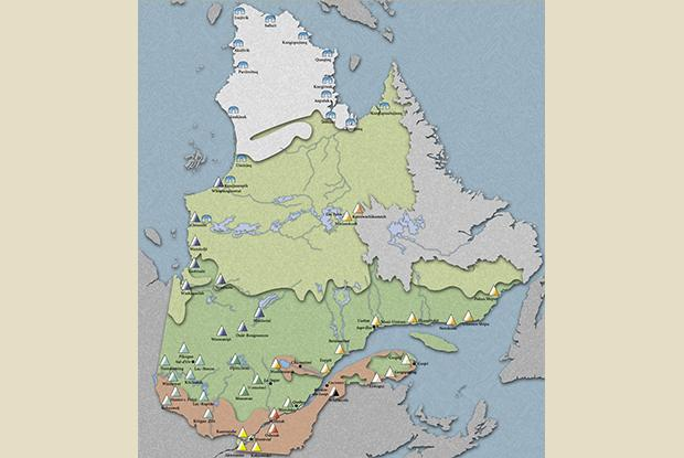 Geographical distribution of Aboriginal Nations in Quebec