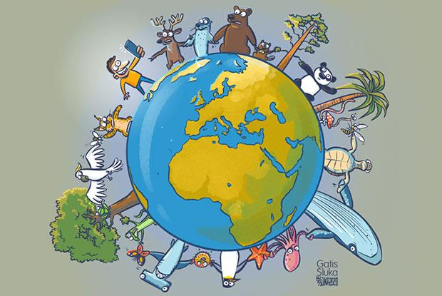 A drawing of planet Earth with endangered speacies forming a chain around it