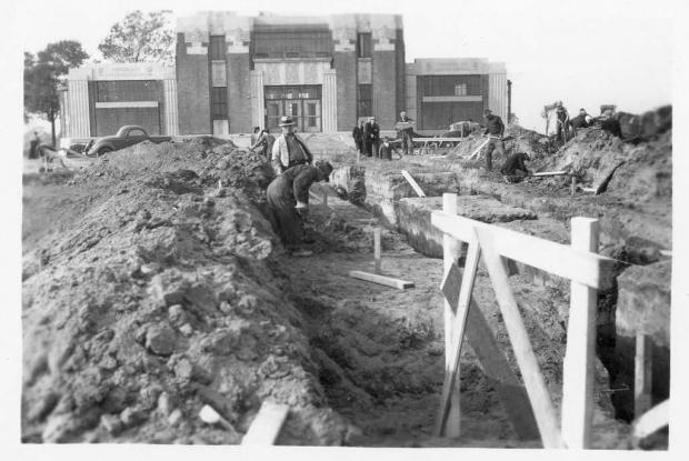 Construction de la cascade de la fontaine, 1937