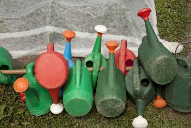 A collection of watering cans.