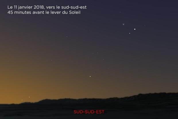 Jupiter, Mars, Lune, Mercure et Saturne 20180111