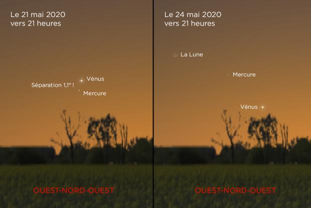 Conjonction Mercure-Vénus du 21 au 24 mai 2020