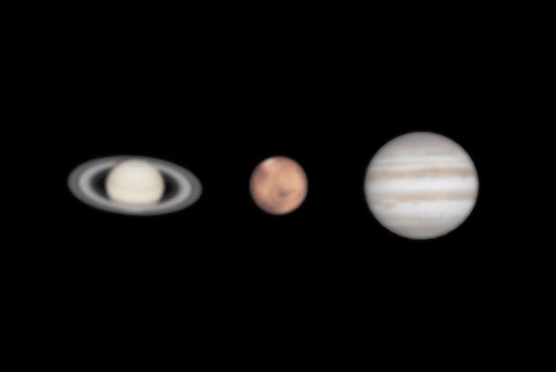 Saturne, Mars, Jupiter - Comparaison