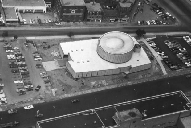 Aerial view of the Montréal Planetarium.