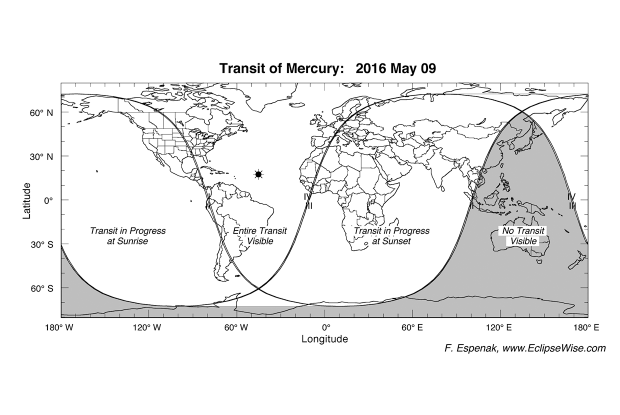 map for the transit of Mercury, May 9, 2016