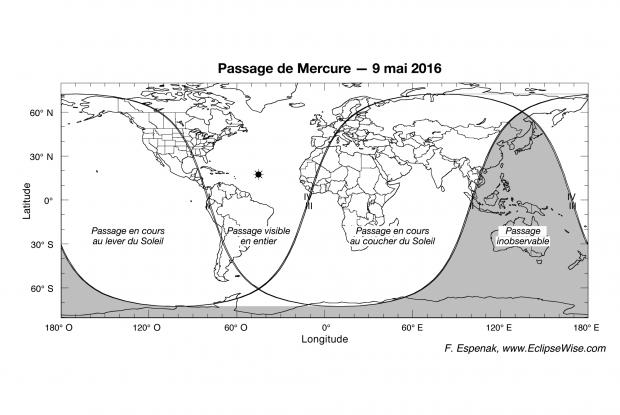 Carte de visibilité du passage de Mercure du 9 mai 2016
