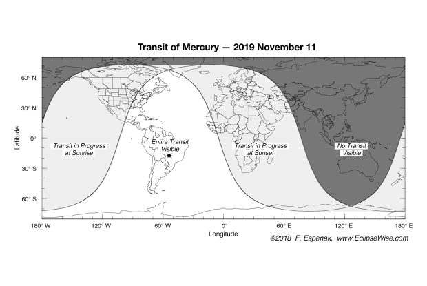 Visibility map, transit of Mercury, Nov 11, 2019