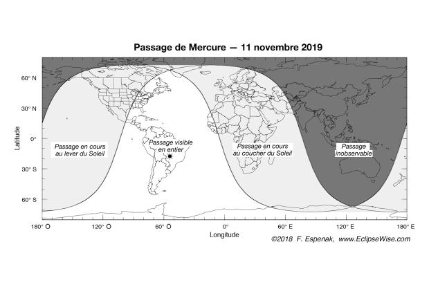 Carte de visibilité du passage de Mercure du 11 novembre 2019