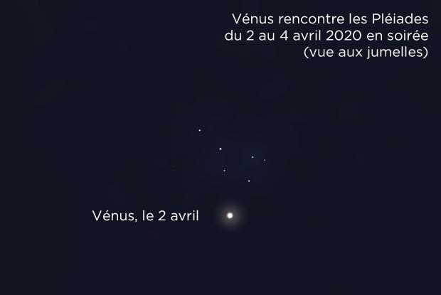 Vénus et les Pléiades le 2 avril 2020