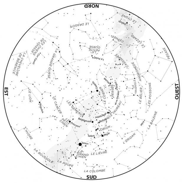 Ciel du mois - carte janvier 2020