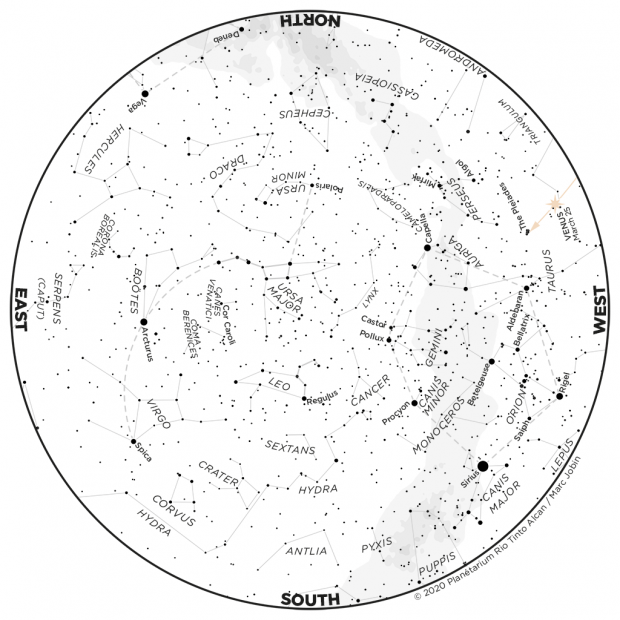 Monthly Sky map - March 2020
