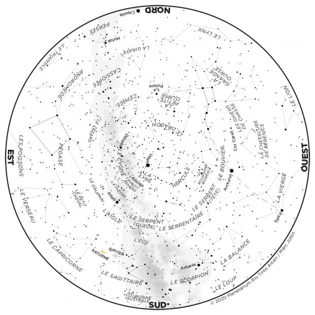 Ciel du mois - carte juillet 2020