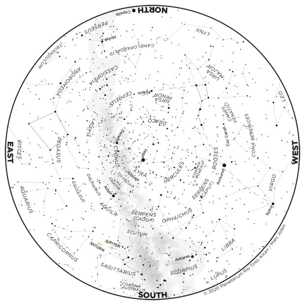Monthly Sky map - July 2020