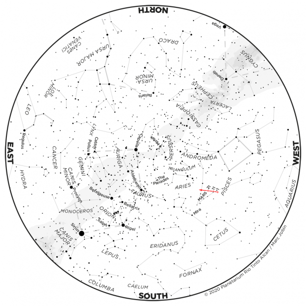 Monthly Sky map - December 2020
